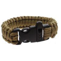 MacGyver Paracord survivalarmband met fluit 23 cm bruin