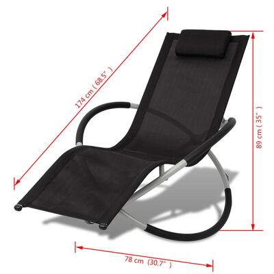 vidaXL Ligbed voor buiten geometrisch zwart en grijs staal