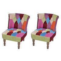 vidaXL Franse stoelen 2 st met patchwork ontwerp stof