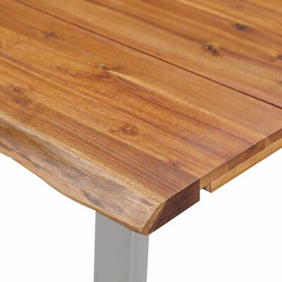 vidaXL Eettafel 140x80x75 cm massief acaciahout en roestvrij staal