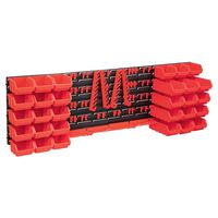 vidaXL 80-delige Opslagbakkenset met wandpanelen rood en zwart