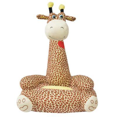 vidaXL Kinderstoel pluche giraffe bruin