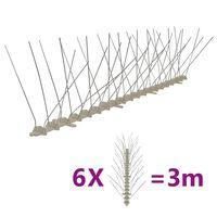 vidaXL Vogel- en duivenpinnen met 4 rijen 6 st 3 m kunststof
