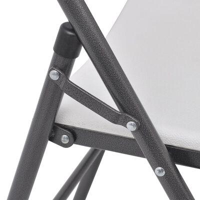 vidaXL Tuinstoelen inklapbaar 4 st staal en HDPE wit