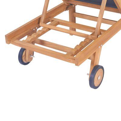 vidaXL Ligbed inklapbaar met wielen massief teakhout en textileen