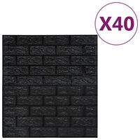 vidaXL 3D-behang zelfklevend 40 st bakstenen zwart