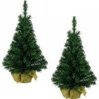 Set van 2x stuks kleine volle kerstbomen in jute zak 60 cm - Kunst