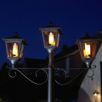 Luxform Tuinpaallamp met 3 lantaarns LED solar Brooklyn zwart