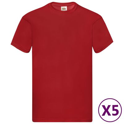 Fruit of the Loom T-shirts Original 5 st XXL katoen rood