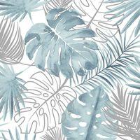 DUTCH WALLCOVERINGS Behang monstera bladeren blauw