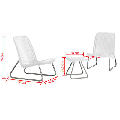 Keter Loungeset Rio wit 3-delig 218155