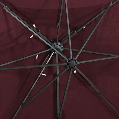 vidaXL Zweefparasol met dubbel dak 250x250 cm bordeauxrood