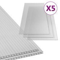 vidaXL Polycarbonaatplaten 5 st 6 mm 150x65 cm