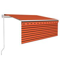 vidaXL Luifel met rolgordijn, LED en windsensor 3,5x2,5 m oranje bruin