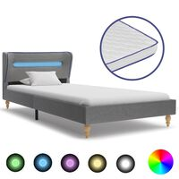 vidaXL Bed met LED en traagschuim matras stof lichtgrijs 90x200 cm