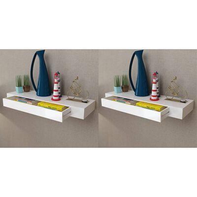 vidaXL Wandplanken zwevend met lades 2 st 80 cm wit