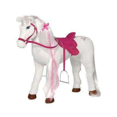 Barbie Speelpaard Majesty met geluid 81 cm wit en roze,