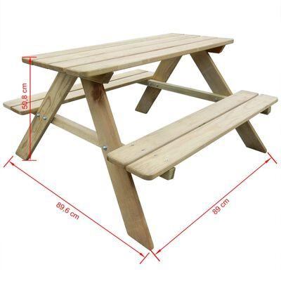 vidaXL Picknicktafel voor kinderen 89x89,6x50,8 cm grenenhout