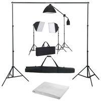 vidaXL Fotostudioset met softboxlampen en achtergrond