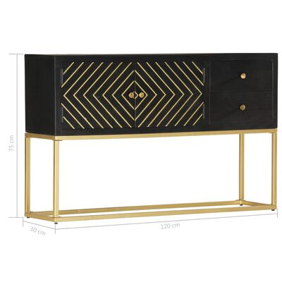 vidaXL Dressoir 120x30x75 cm massief mangohout zwart en goudkleurig
