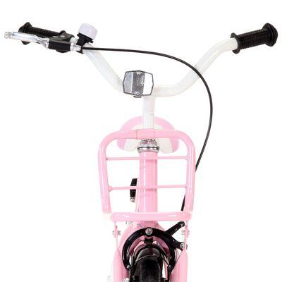 vidaXL Kinderfiets met voordrager 12 inch wit en roze