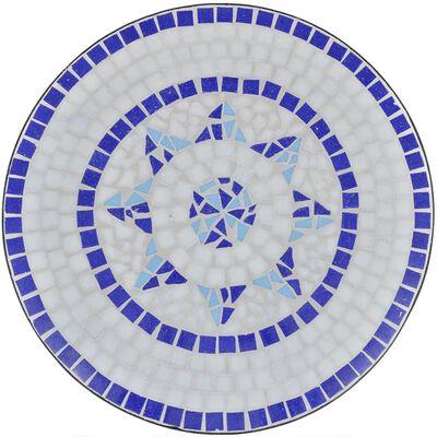 vidaXL Bistrotafel 60 cm mozaïek blauw en wit