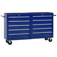 vidaXL Gereedschapswagen met 10 lades staal blauw