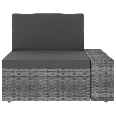 vidaXL Hoekbank met linkerarmleuning sectioneel poly rattan grijs