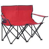 vidaXL Campingstoel 2-zits inklapbaar staal en stof rood