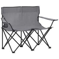 vidaXL Campingstoel 2-zits inklapbaar staal en stof grijs