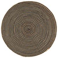 vidaXL Vloerkleed handgemaakt met spiraal ontwerp 120 cm jute zwart
