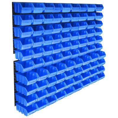 vidaXL 96-delige Opslagbakkenset met wandpanelen blauw