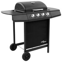 vidaXL Gasbarbecue-grill met 4 branders zwart