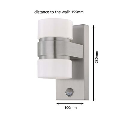 EGLO LED-buitenwandlamp met sensor ATOLLARI 2x6 W zilverkleurig