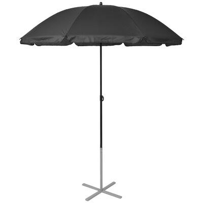vidaXL Ligbedden met parasol aluminium zwart