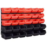 vidaXL 32-delige Opslagbakkenset met wandpanelen rood en zwart
