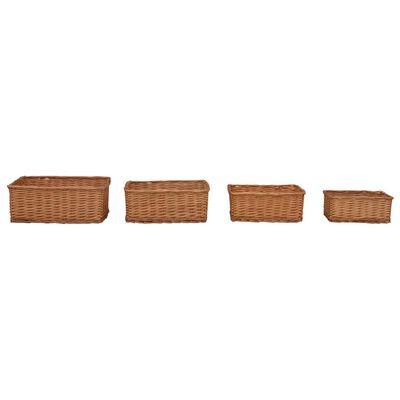 vidaXL 4-delige Mandenset stapelbaar wilgen bruin