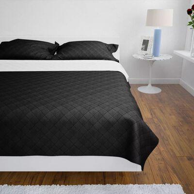 vidaXL Bedsprei gewatteerd dubbelzijdig 220x240 cm zwart/wit