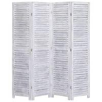 vidaXL Kamerscherm met 4 panelen 140x165 cm hout grijs