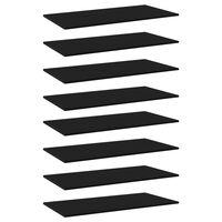 vidaXL Wandschappen 8 st 80x20x1,5 cm spaanplaat zwart