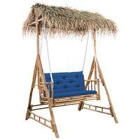 vidaXL Schommelbank 2-zits met palmbladeren en kussen 202 cm bamboe