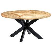 vidaXL Eettafel rond 150x76 cm massief mangohout