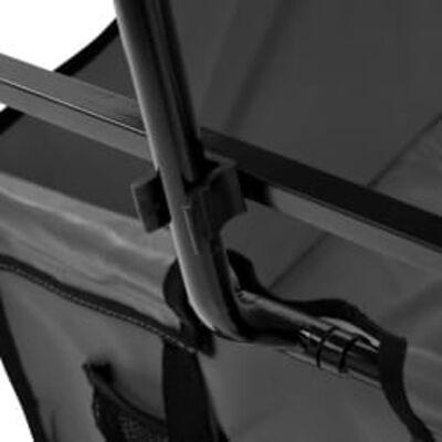 vidaXL Handkar inklapbaar met luifel staal grijs