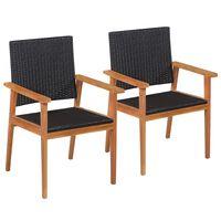 vidaXL Buitenstoelen 2 st poly rattan zwart en bruin
