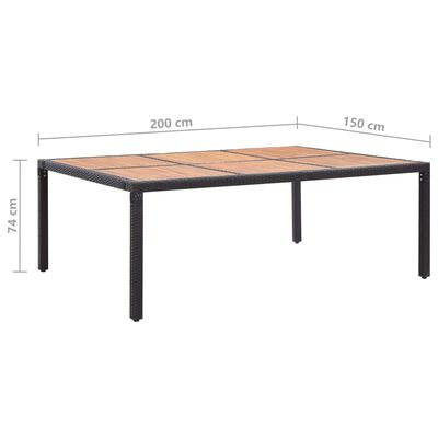 vidaXL Tuintafel 200x150x74 cm poly rattan en massief acaciahout zwart