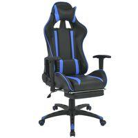 vidaXL Bureau-/gamestoel verstelbaar met voetensteun blauw