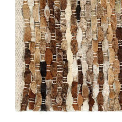 vidaXL Vloerkleed 120x170 cm echt harig leer bruin/wit