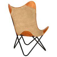 vidaXL Vlinderstoel echt leer en canvas bruin