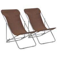 vidaXL Strandstoelen inklapbaar 2 st staal en oxford stof bruin