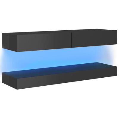 vidaXL Tv-meubel met LED-verlichting 120x35 cm hoogglans grijs